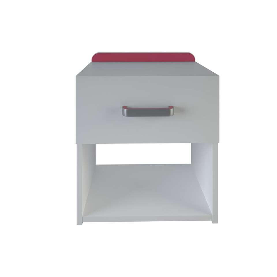 Demeyere nachtkastje Reverso is wit met 1 lade en biedt veel ruimte.