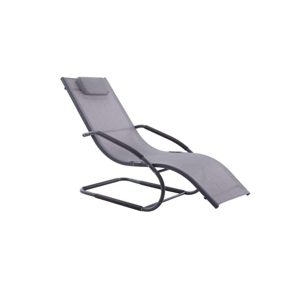Vivere Wave Lounger tuinstoel - grijs - 168x61x91 cm - Leen Bakker