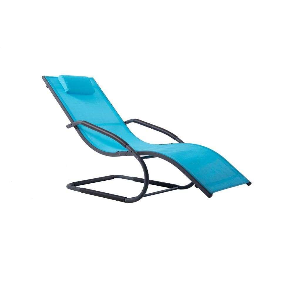 Vivere Wave Lounger tuinstoel - ocean blue - 168x61x91 cm - Leen Bakker