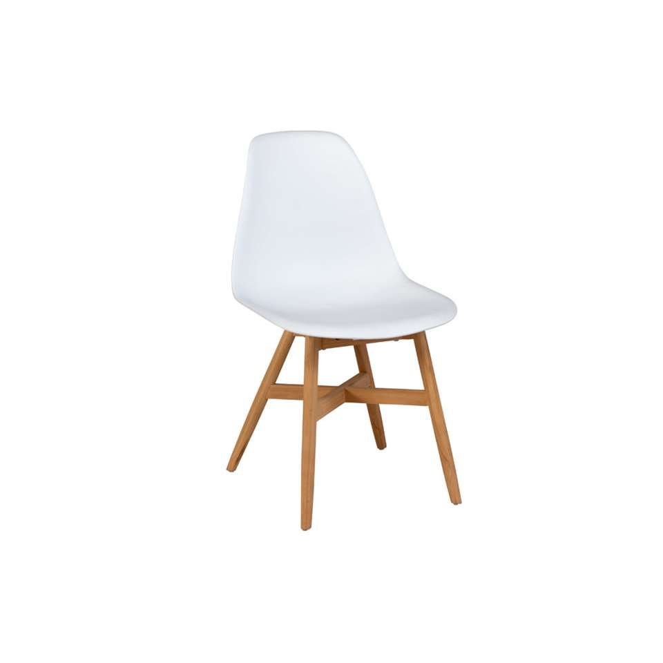 Exotan Lotus stoel - teak - wit (2 stuks) - Leen Bakker