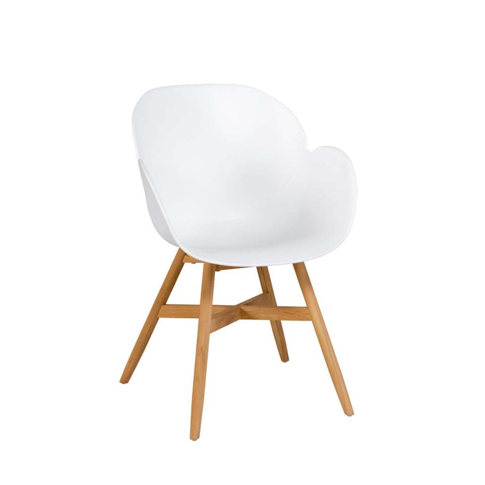 Exotan Tulip stoel teak - wit (2 stuks) - Leen Bakker