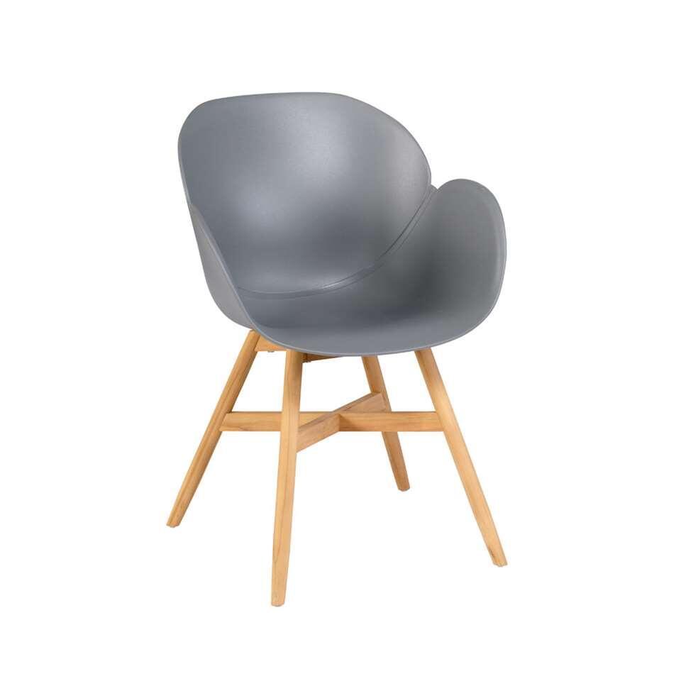 Exotan Tulip stoel - teak - grijs (2 stuks) - Leen Bakker