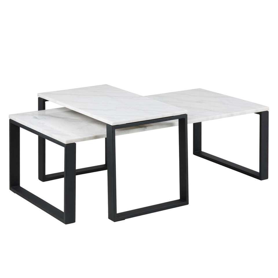 Table de salon Turi (le lot de 2) - marbre/noire - 37,5x115x55 et 45x69x40 cm
