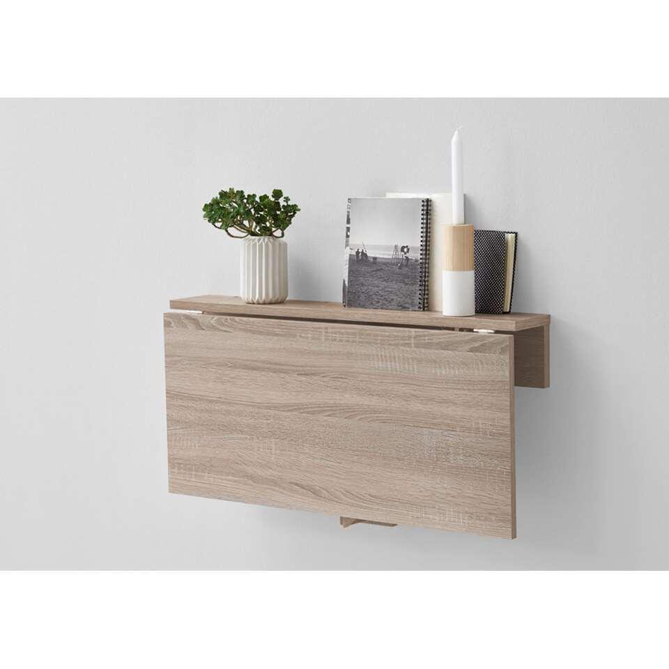 Table Rabattable Petit Espace etagère murale/table pliante arta - couleur chêne - 80x44x51 cm