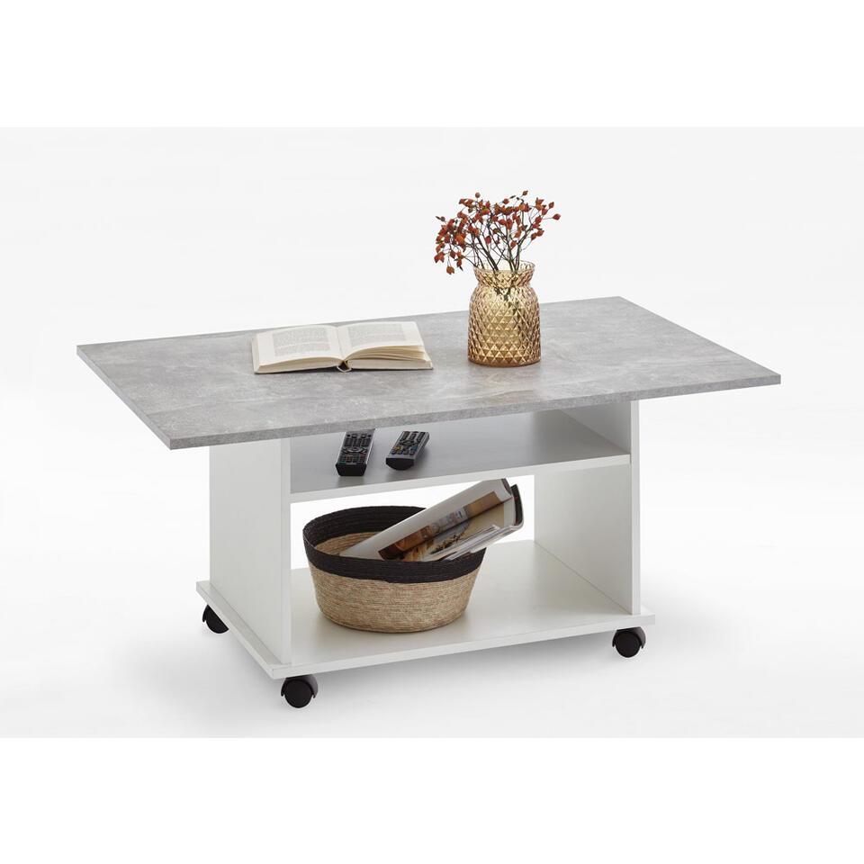 Table de salon azur blanche gris b ton 100x44x60 cm - Salon gris beton ...