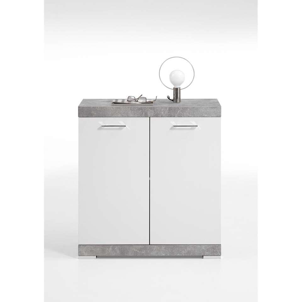 Commode Bristol - betonkleur/wit edelglans - 80x90x35 cm