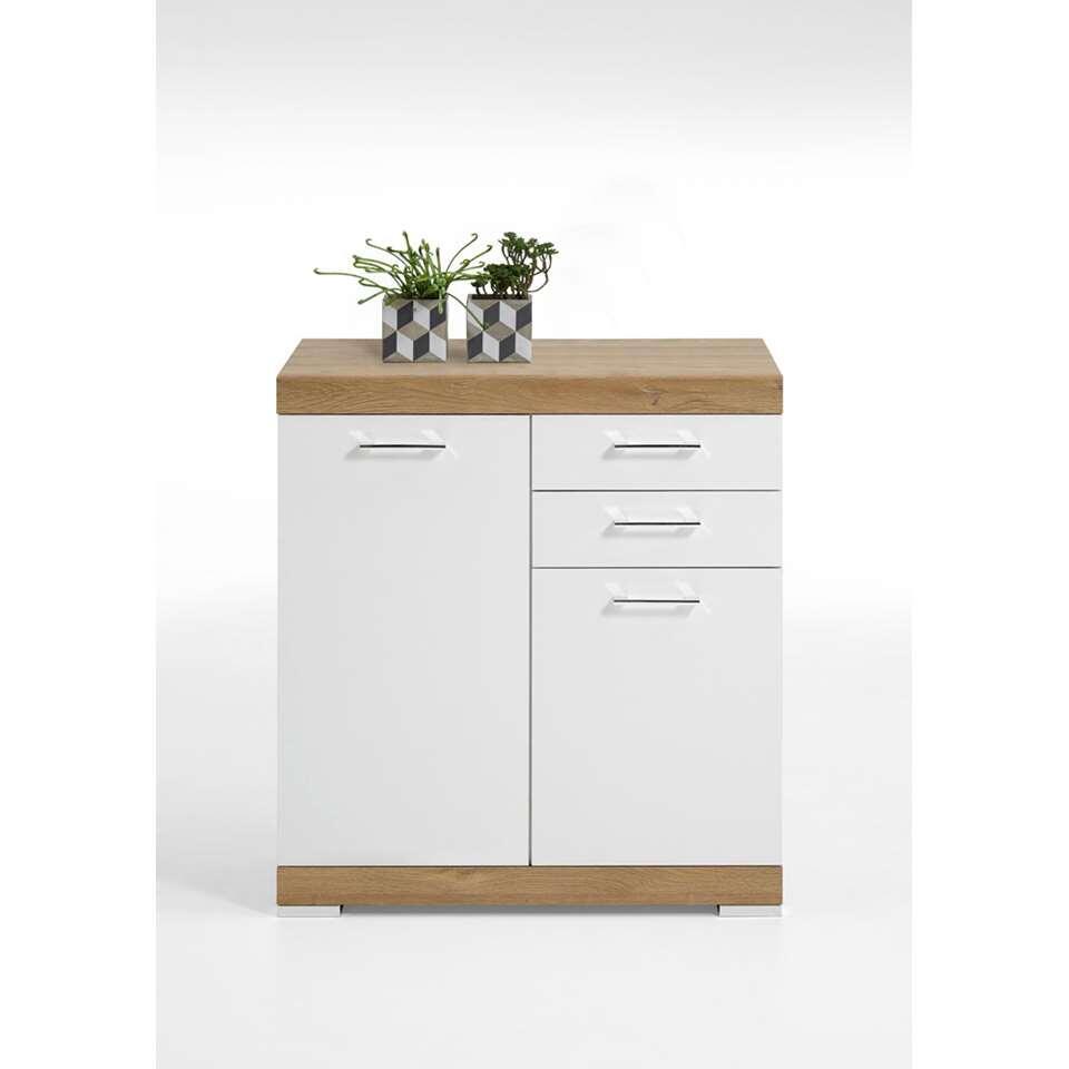 Commode Bristol XL - couleur chêne/blanc brillant - 90x80x50 cm