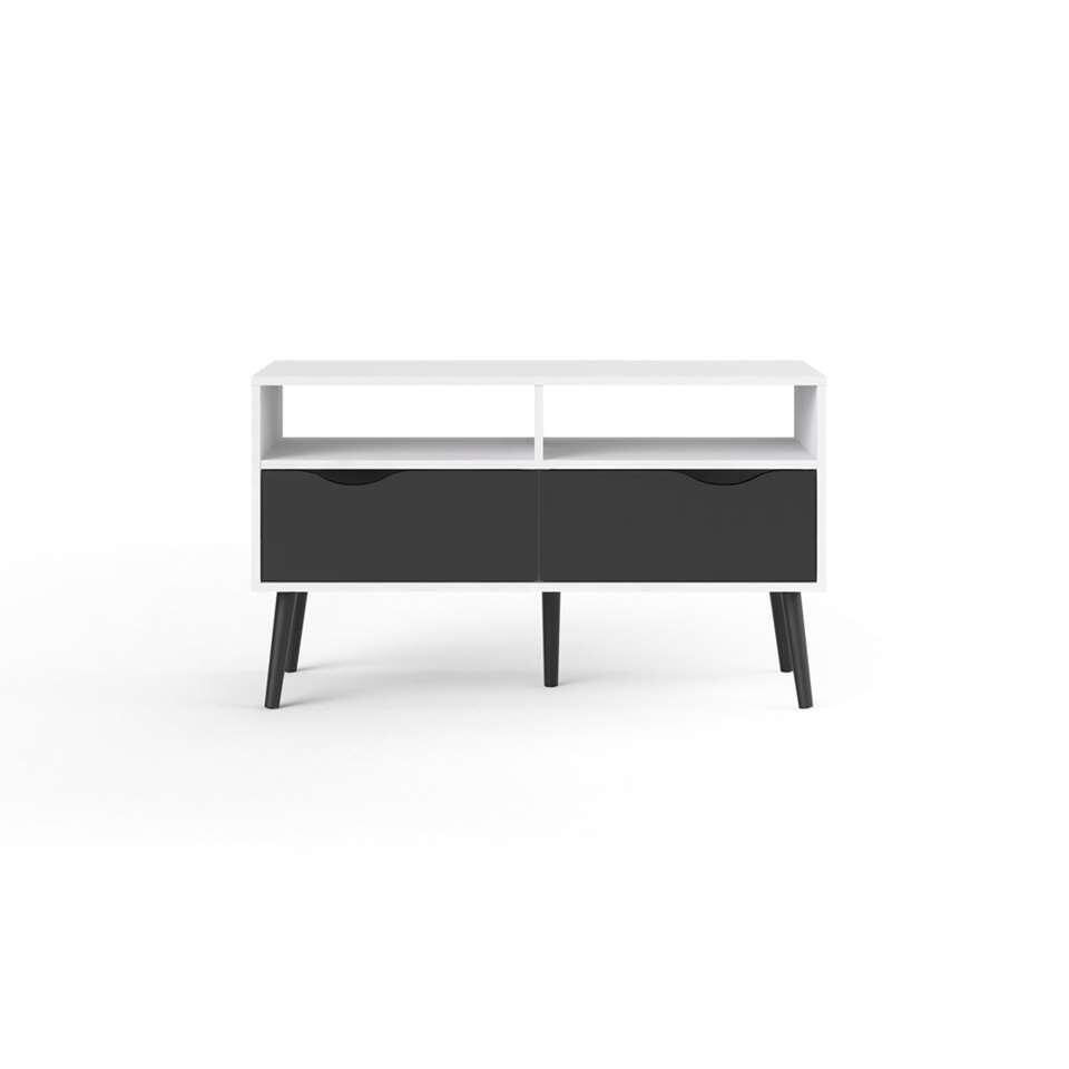 TV-meubel Delta 4 vakken - wit/mat zwart - 57,6x98,7x39,1 cm