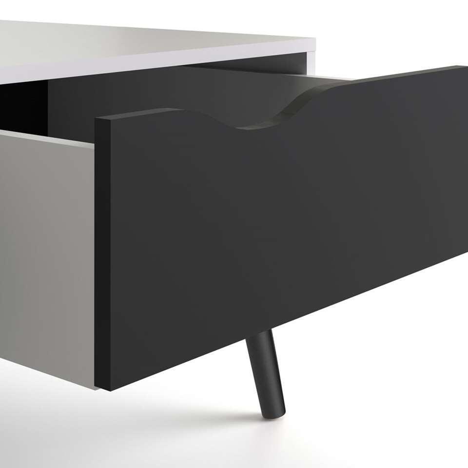 table de salon delta blanche noir terne 43 3x98 7x60 2 cm. Black Bedroom Furniture Sets. Home Design Ideas
