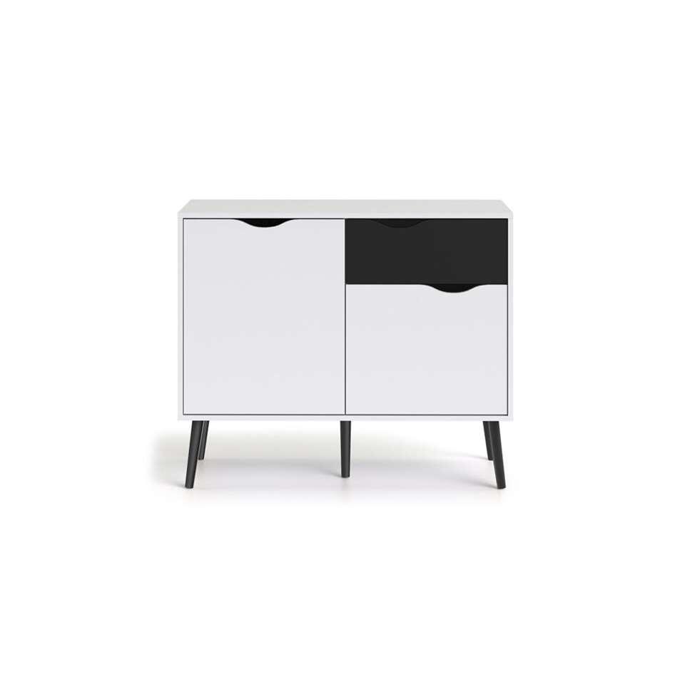 Dressoir Delta - 3 cases - blanche/noir terne