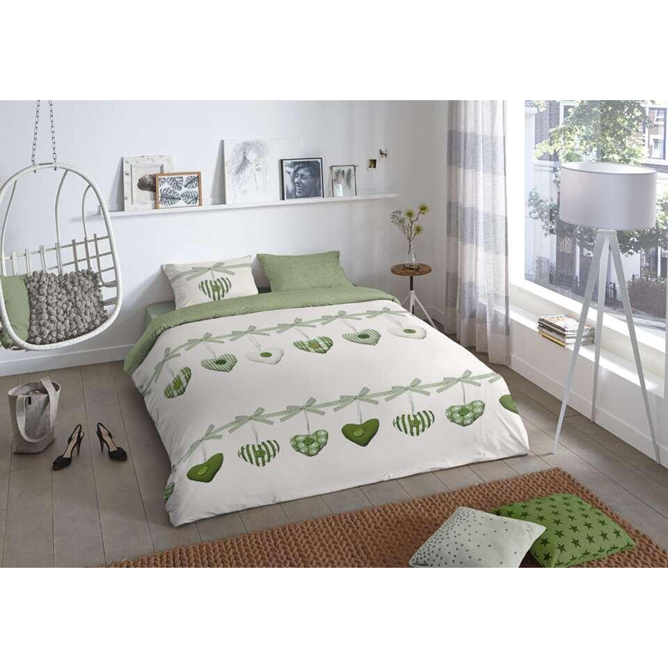 Good Morning parure de couette Hearts - verte - 140x200/220 cm