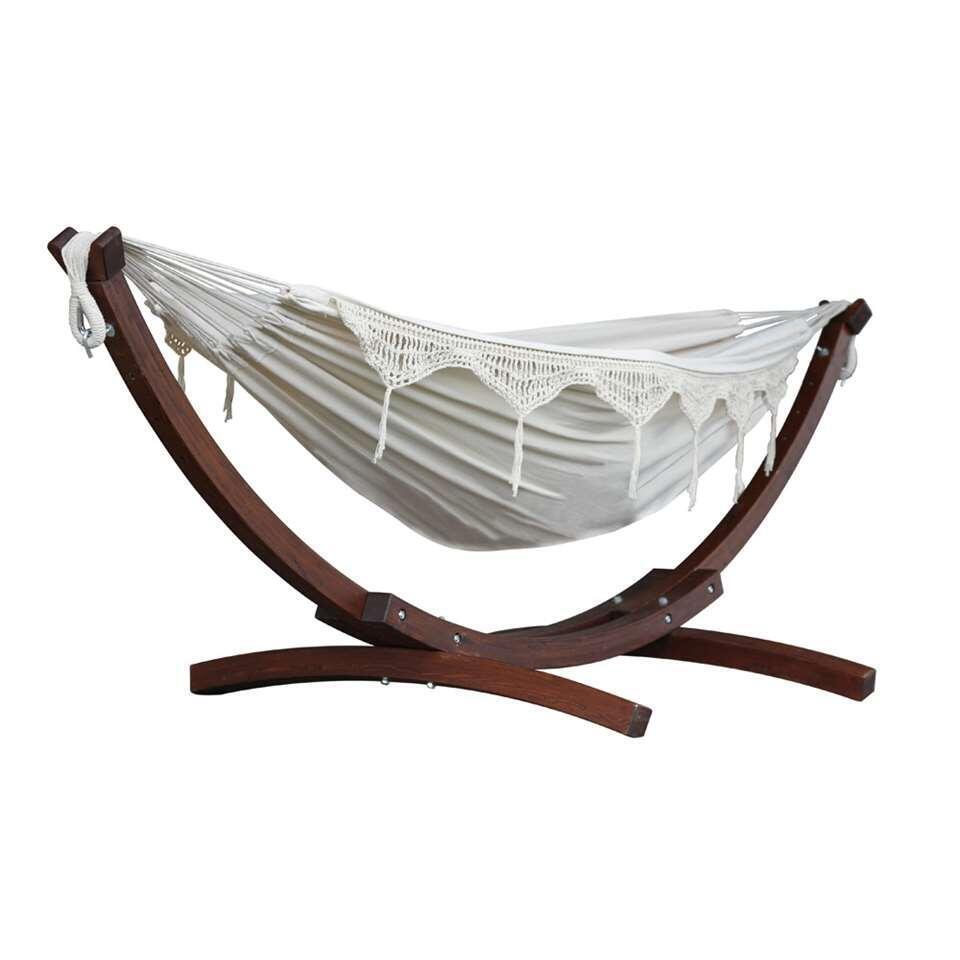 Vivere hangmat Combo (incl. houtstandaard) - 2-persoons - naturel - Leen Bakker