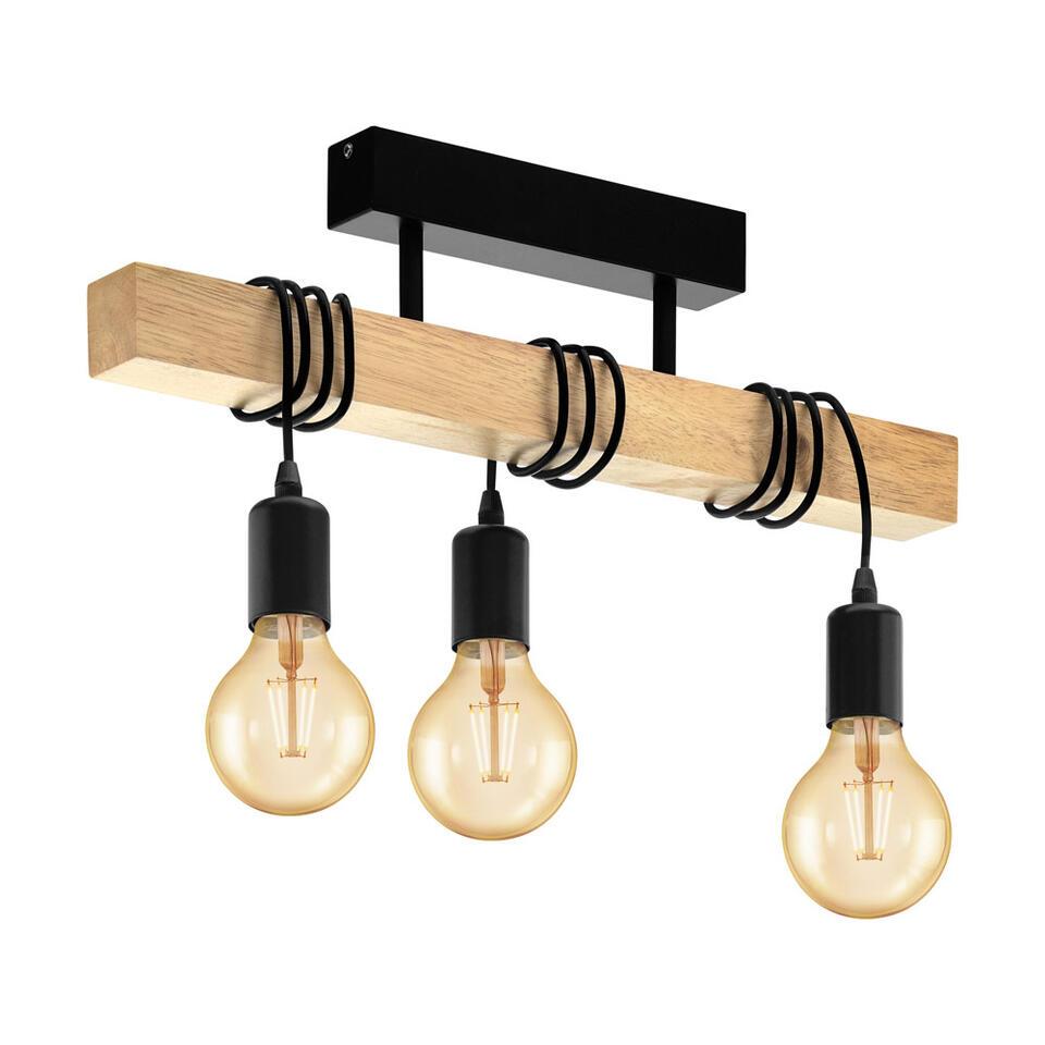 EGLO plafondlamp Townshend 3-lichts - eikenhout/zwart