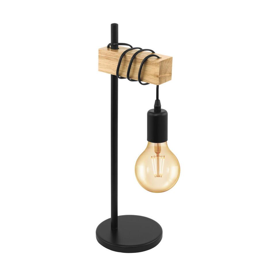 EGLO lampe de table Townshend - couleur chêne/noire