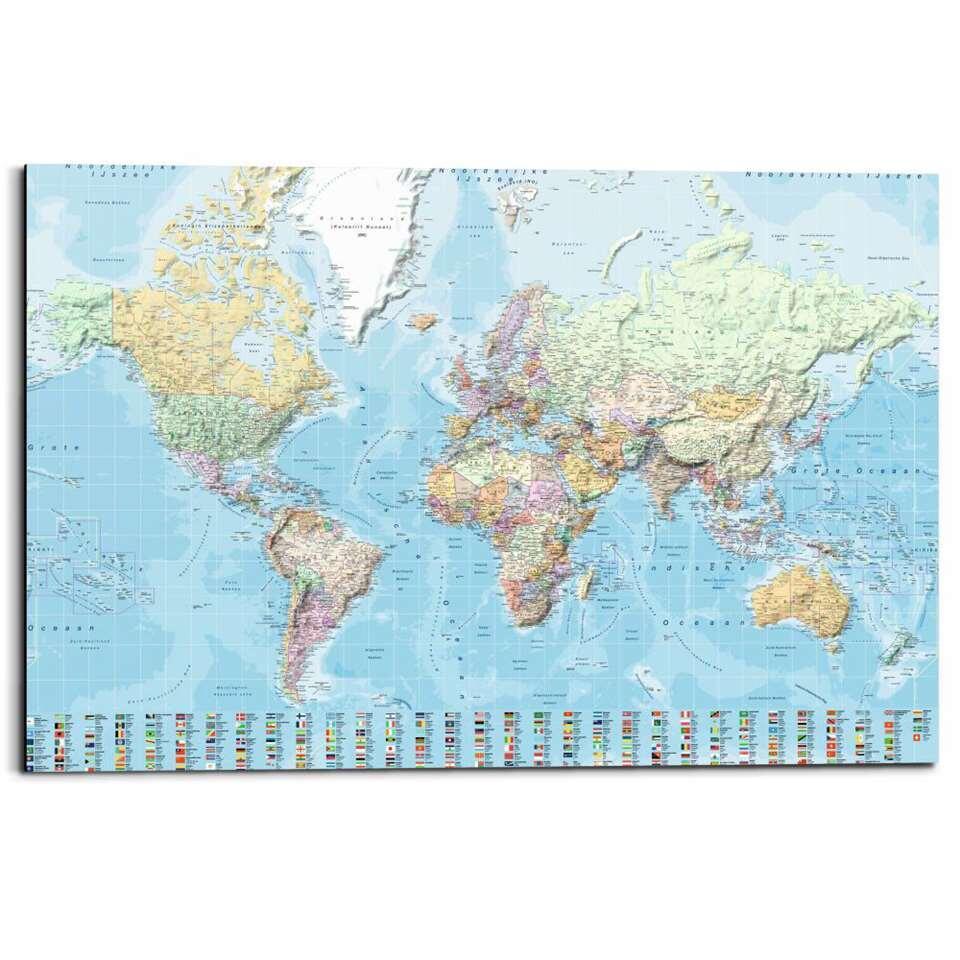 Panneau décoratif Carte universelle néerlandaise - multicolore - 60x90 cm