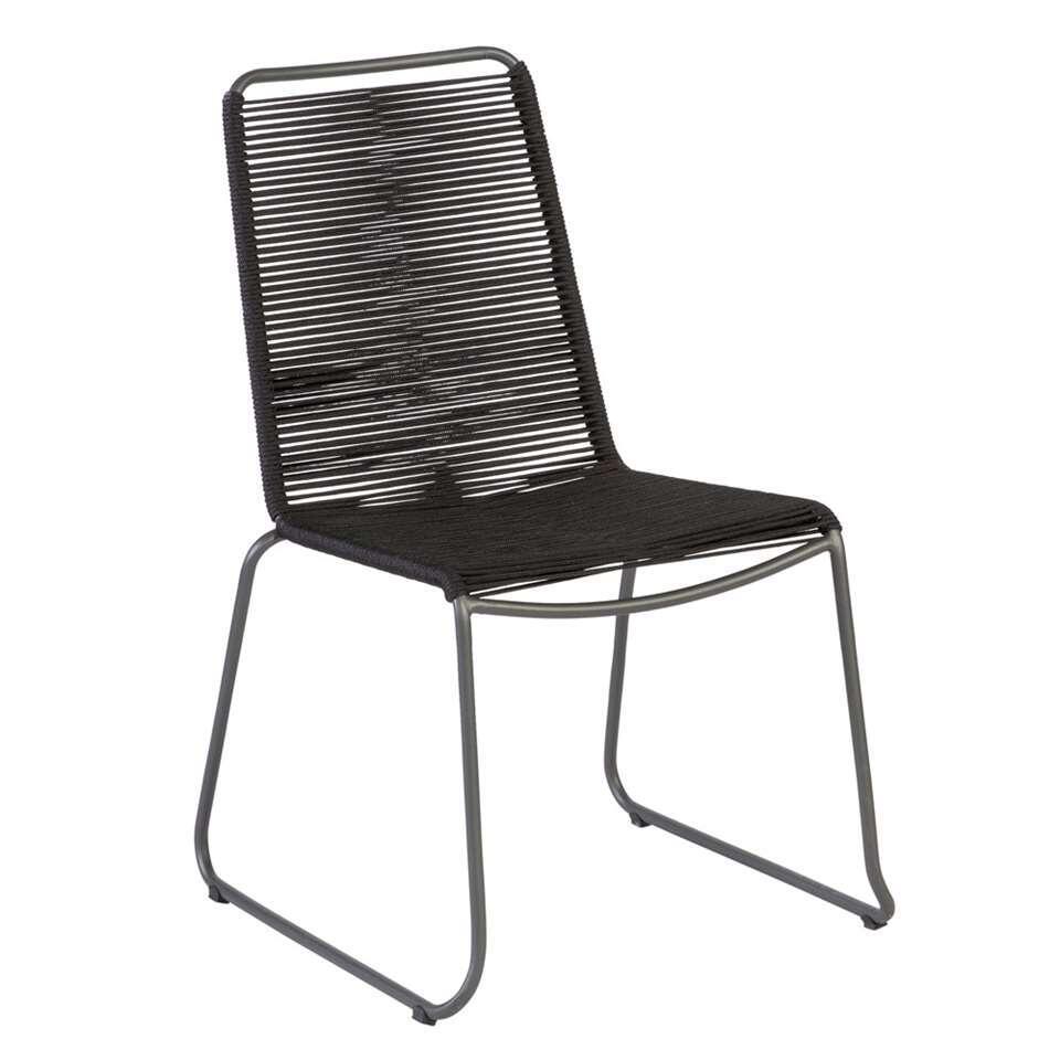 Exotan stoel Slimm - zwart/antraciet - 54,5x62x90 cm - Leen Bakker