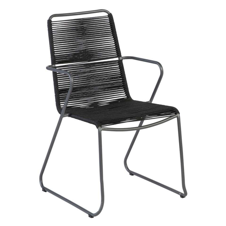 Exotan stoel Slimm met armleuning - zwart/antraciet - 54,5x62x90 cm - Leen Bakker