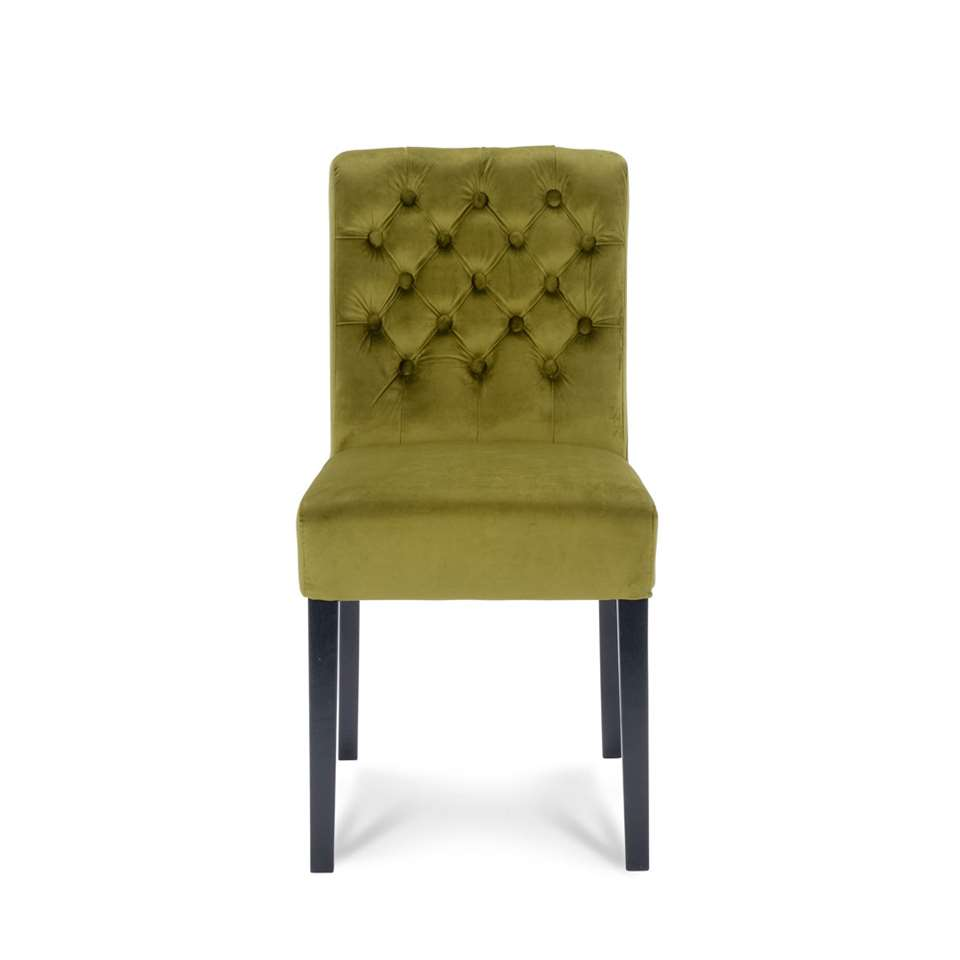 Chaise de salle à manger Rosetti - velours - vert moutarde (2 pièces)