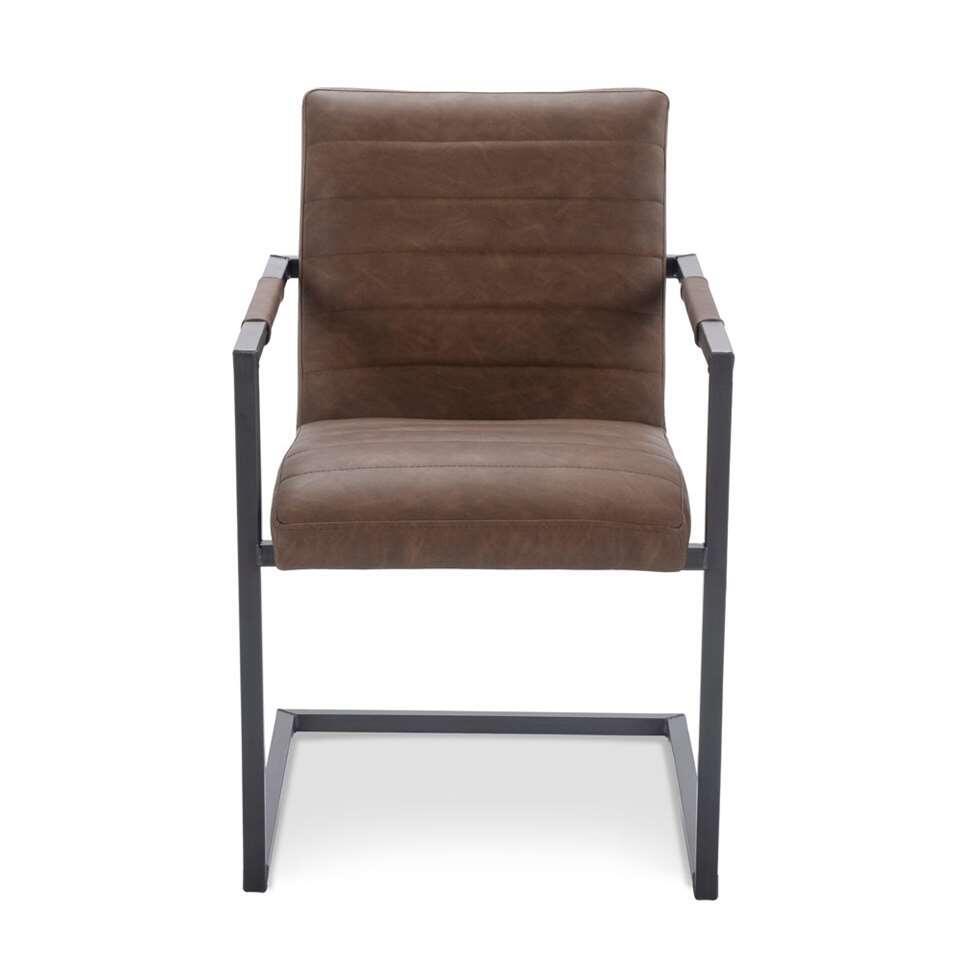 Chaise de salle à manger Mateas - look aspect cuir - marron