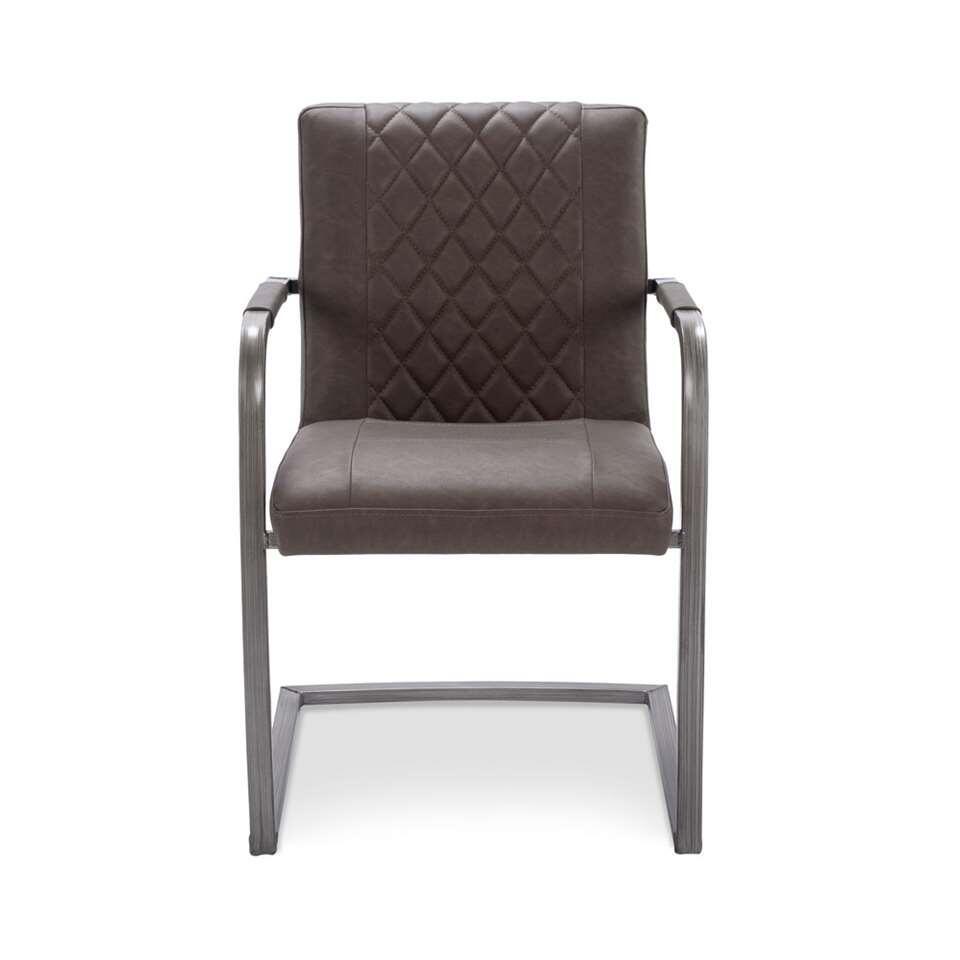 Chaise de salle à manger Rody - look aspect cuir - taupe