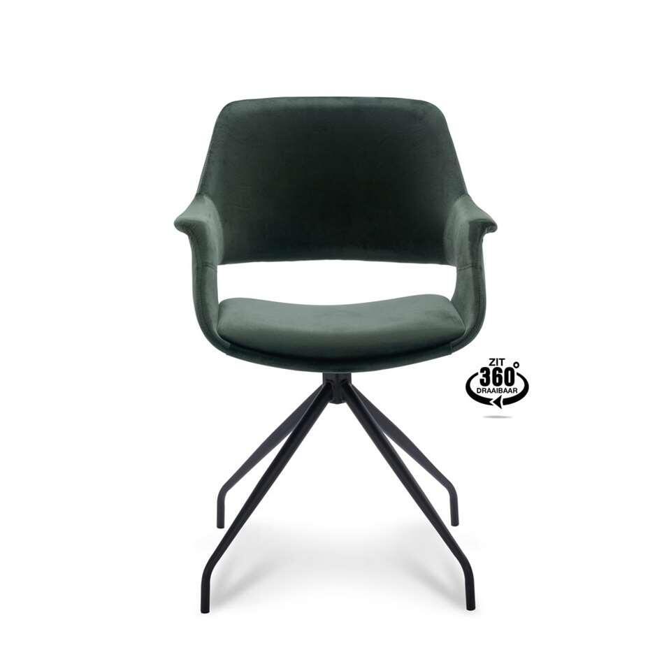 Chaise de salle à manger Riccione - velours - vert