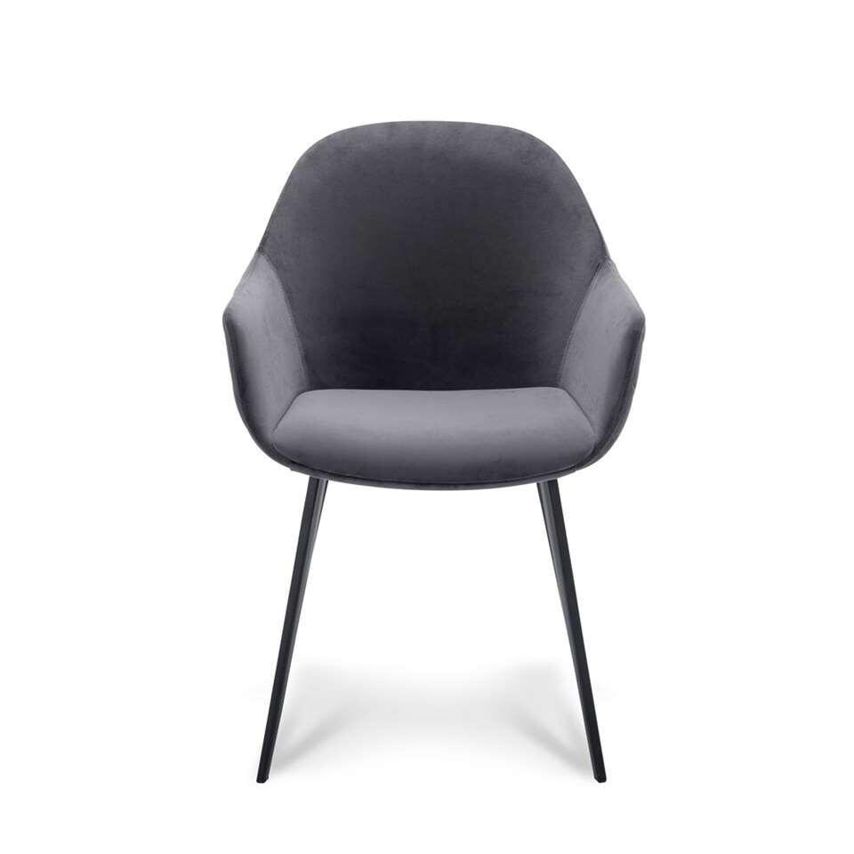 Chaise de salle à manger Rouen - velours - gris foncé (2 pièces)