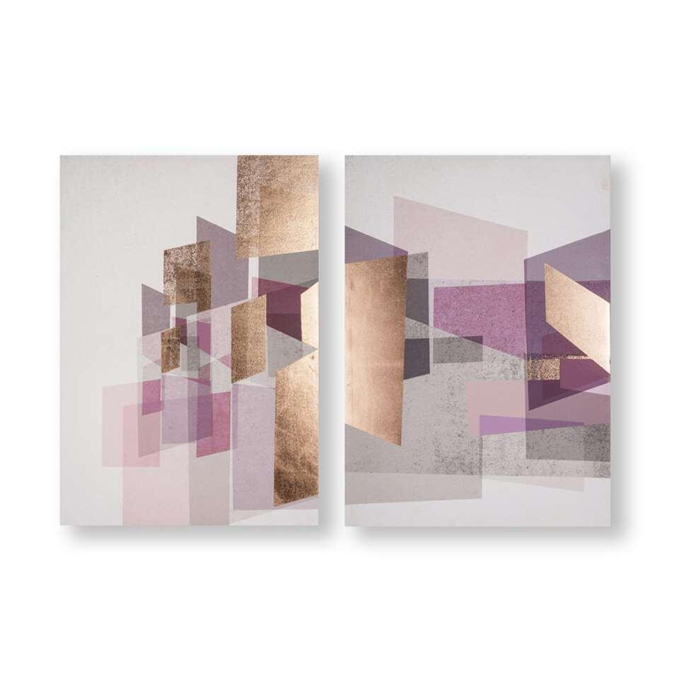 Art for the Home schilderijset Abstract - paars/rosé - 2x 50x70 cm
