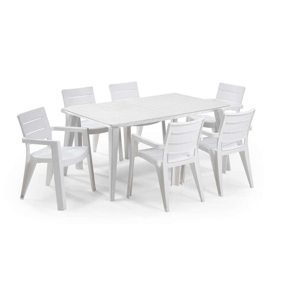 Table de jardin Allibert Lima - blanc - 157x98x74 cm