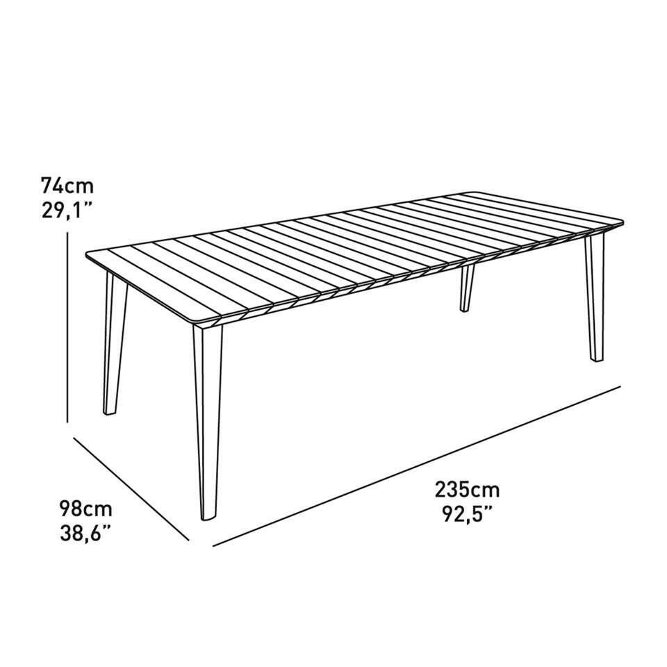 Table de jardin Allibert Lima - blanc - 235x98x74 cm