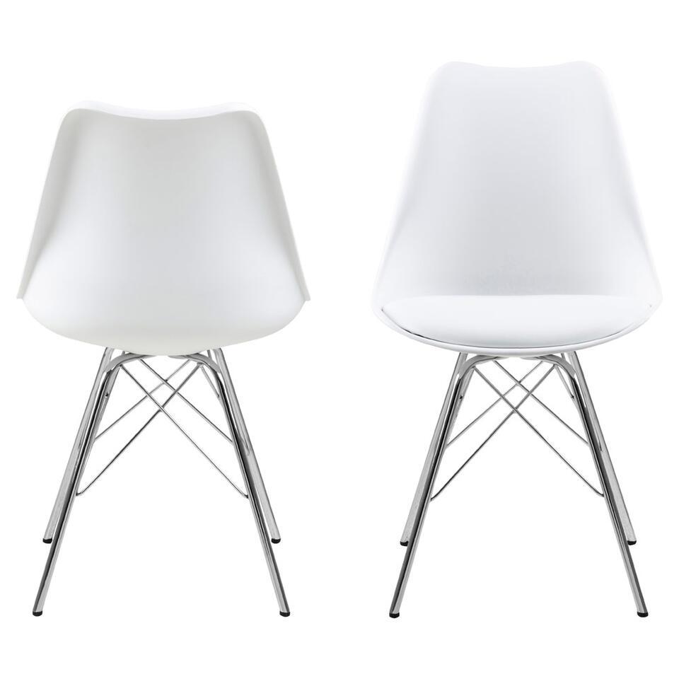 Chaise de salle manger bonn plastique blanche 4 pi ces - Chaise de salle a manger blanche ...