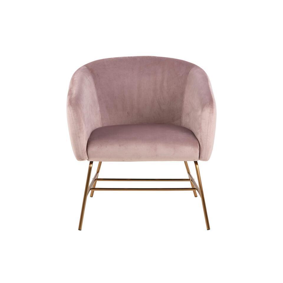 Fauteuil Belfast - fluweel - roze