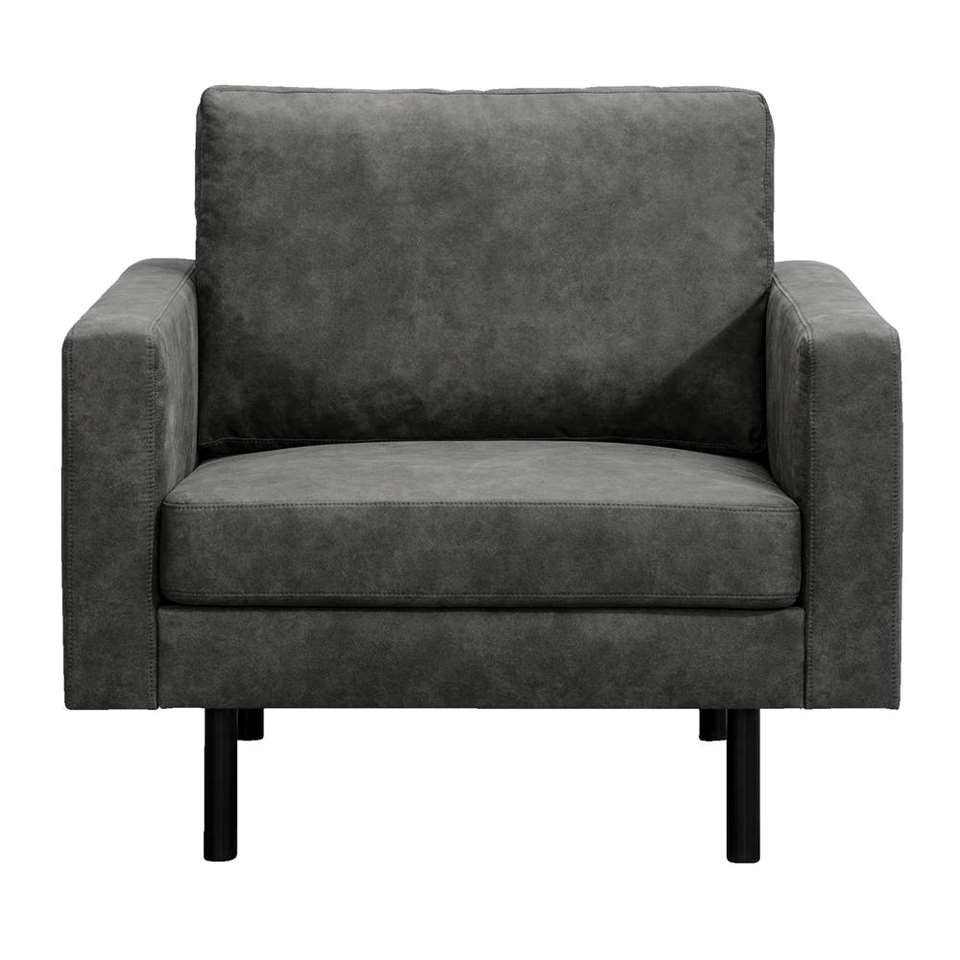 Fauteuil Collin - lederlook Preston - antraciet