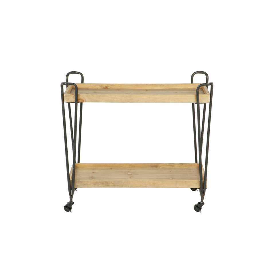 Woood trolley Zoé - naturelkleur - 92x84x38 cm