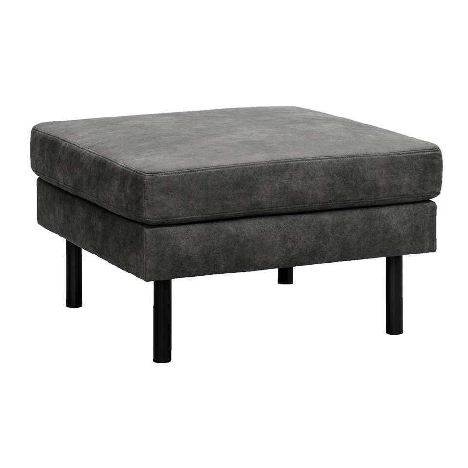 Hocker Collin - antraciet - stof Preston - 46x78x78 cm