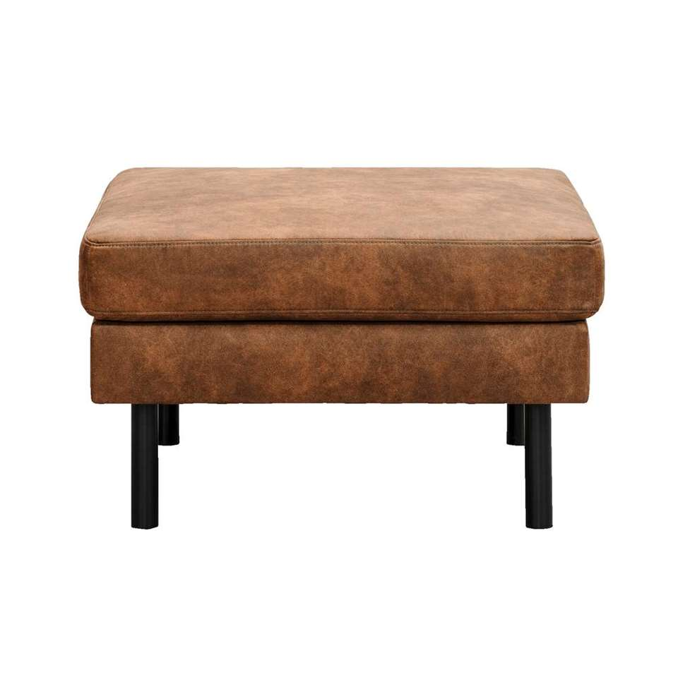 Hocker Collin - cognackleur - stof Preston - 46x78x78 cm