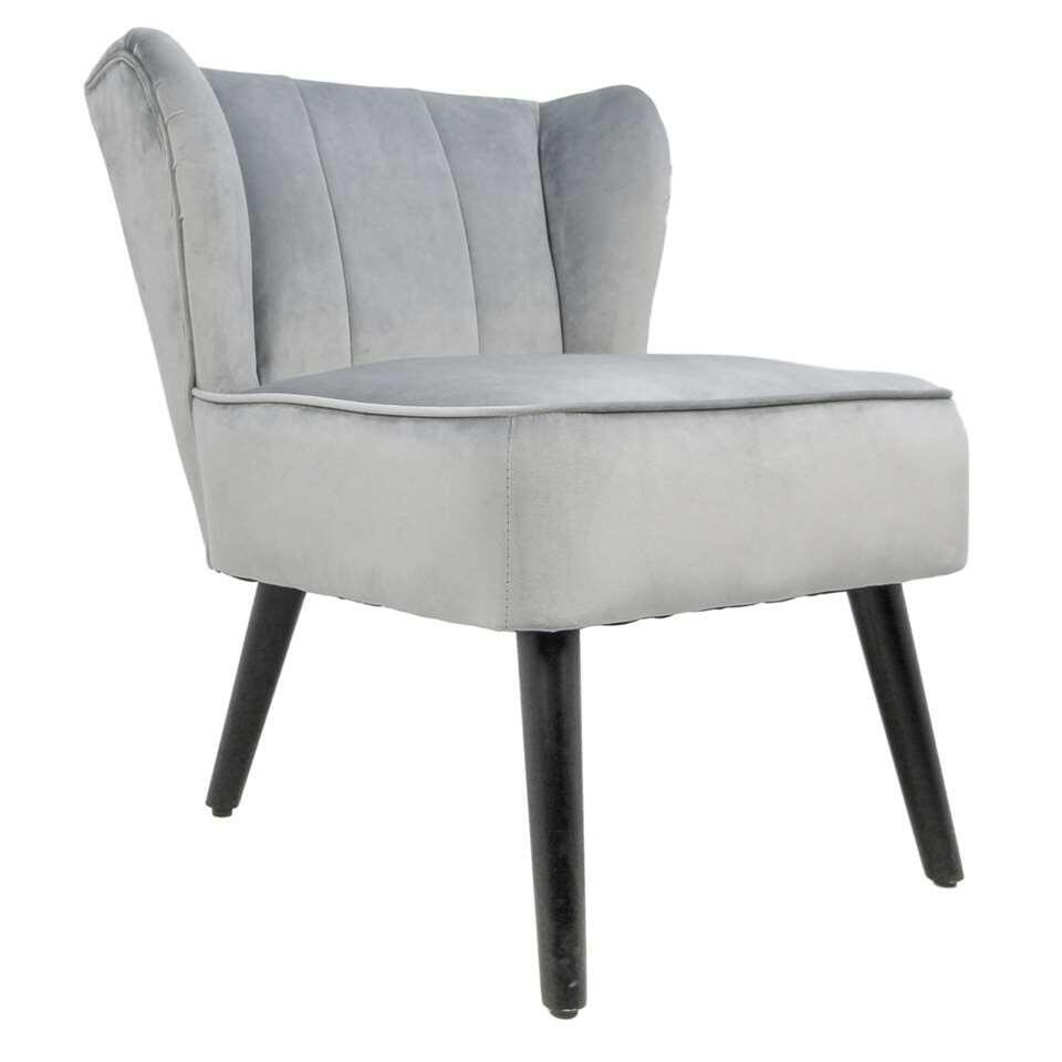 HSM Collection fauteuil Odessa - velours - gris clair