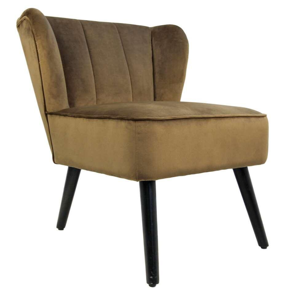HSM Collection fauteuil Odessa - velours - brun olive
