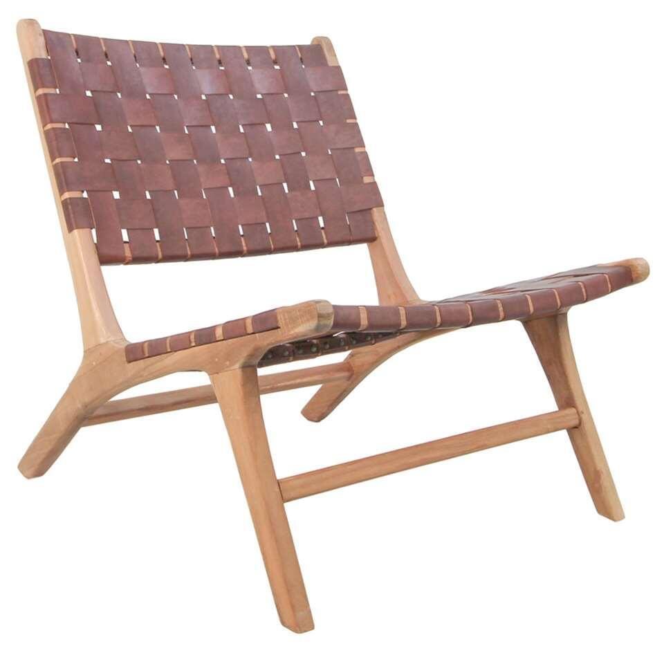 HSM Collection chaise lounge Boas - cuir - marron