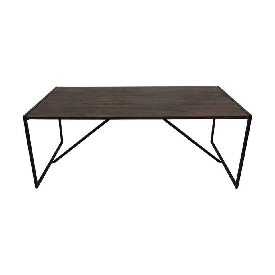 HSM Collection table à manger Ravian - marron/noire - 200x100x77 cm