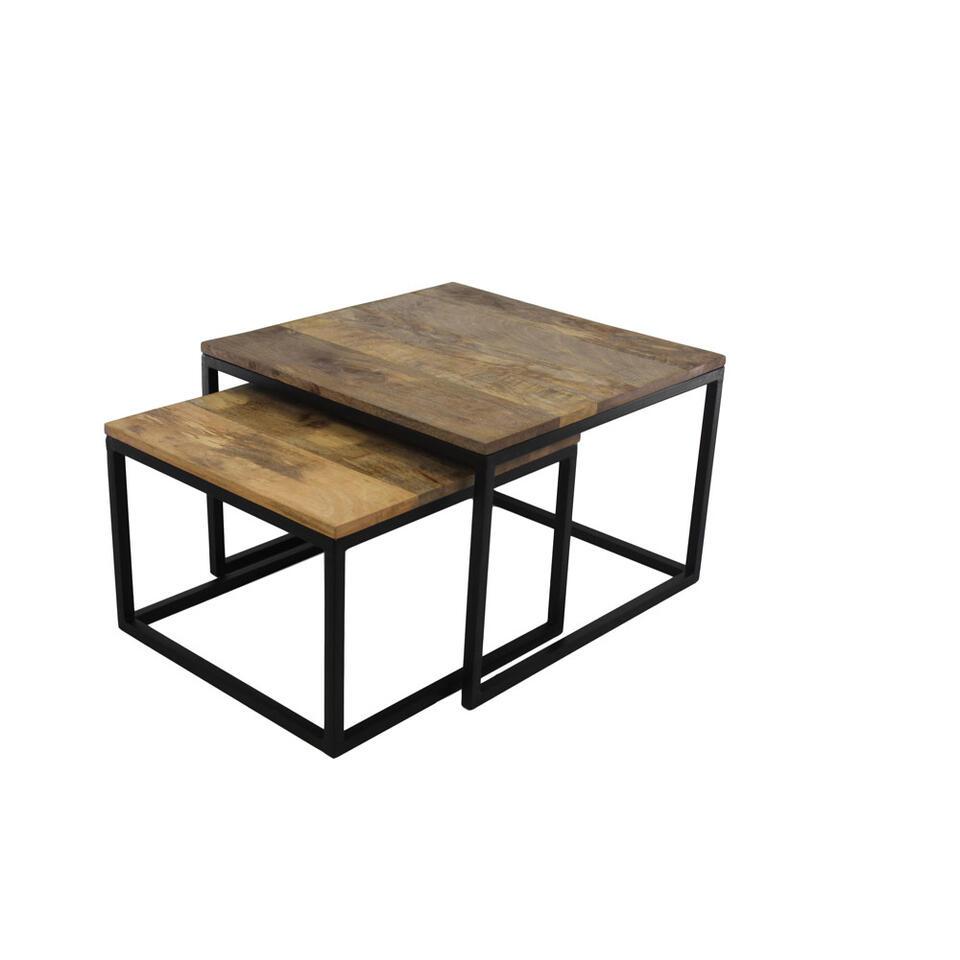 HSM Collection lot de tables de salon Nathan (2 pièces) - naturel/noir - 60x60x41 cm