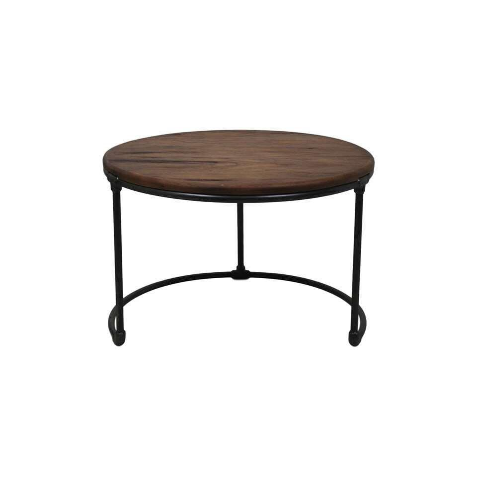 HSM Collection table d'appoint Vintage - brune/noire - Ø70x46 cm