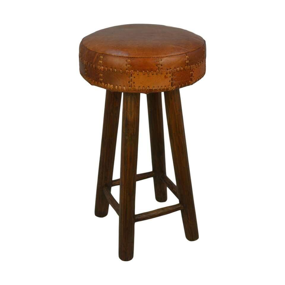 HSM Collection tabouret de bar Jari - patchwork cuir - cognac