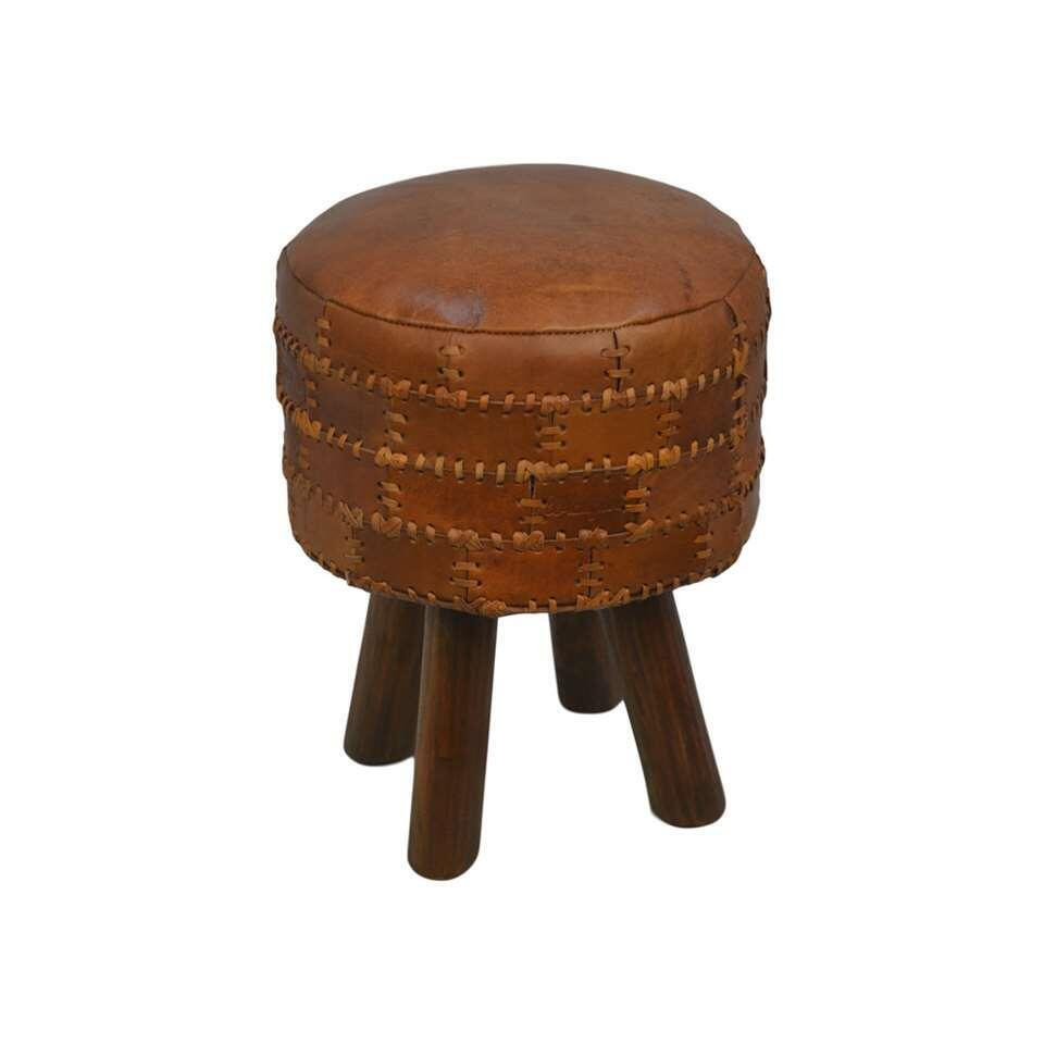 HSM Collection tabouret rond Jari - patchwork cuir - vintage cognac