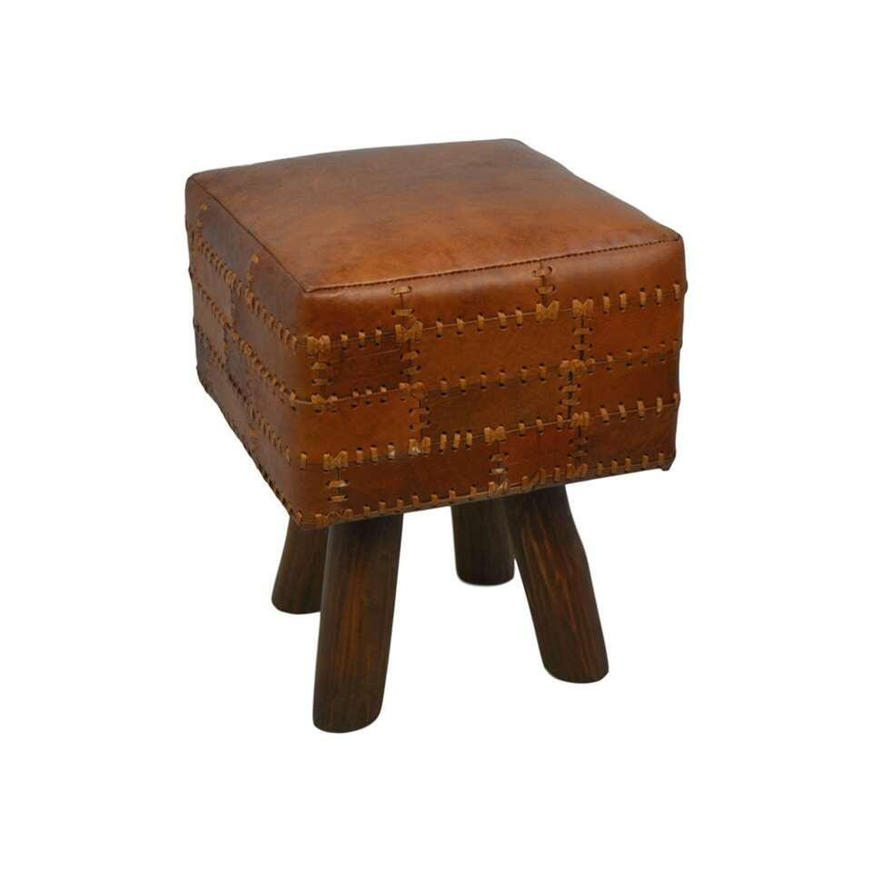 HSM Collection tabouret carré Jari - patchwork cuir - vintage cognac