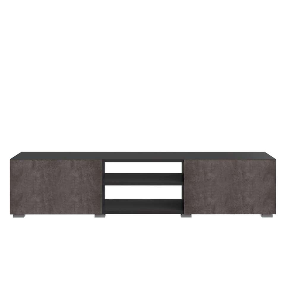 Symbiosis meuble tv Borhaug 2 portes - noir/gris béton - 31x140x42 cm