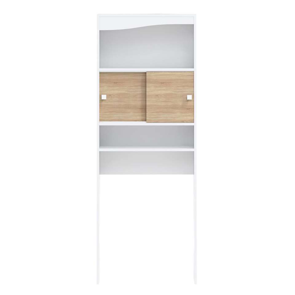 Symbiosis armoire de salle de bains Bladstrup - blanche/couleur chêne - 177x64,3x19,2 cm