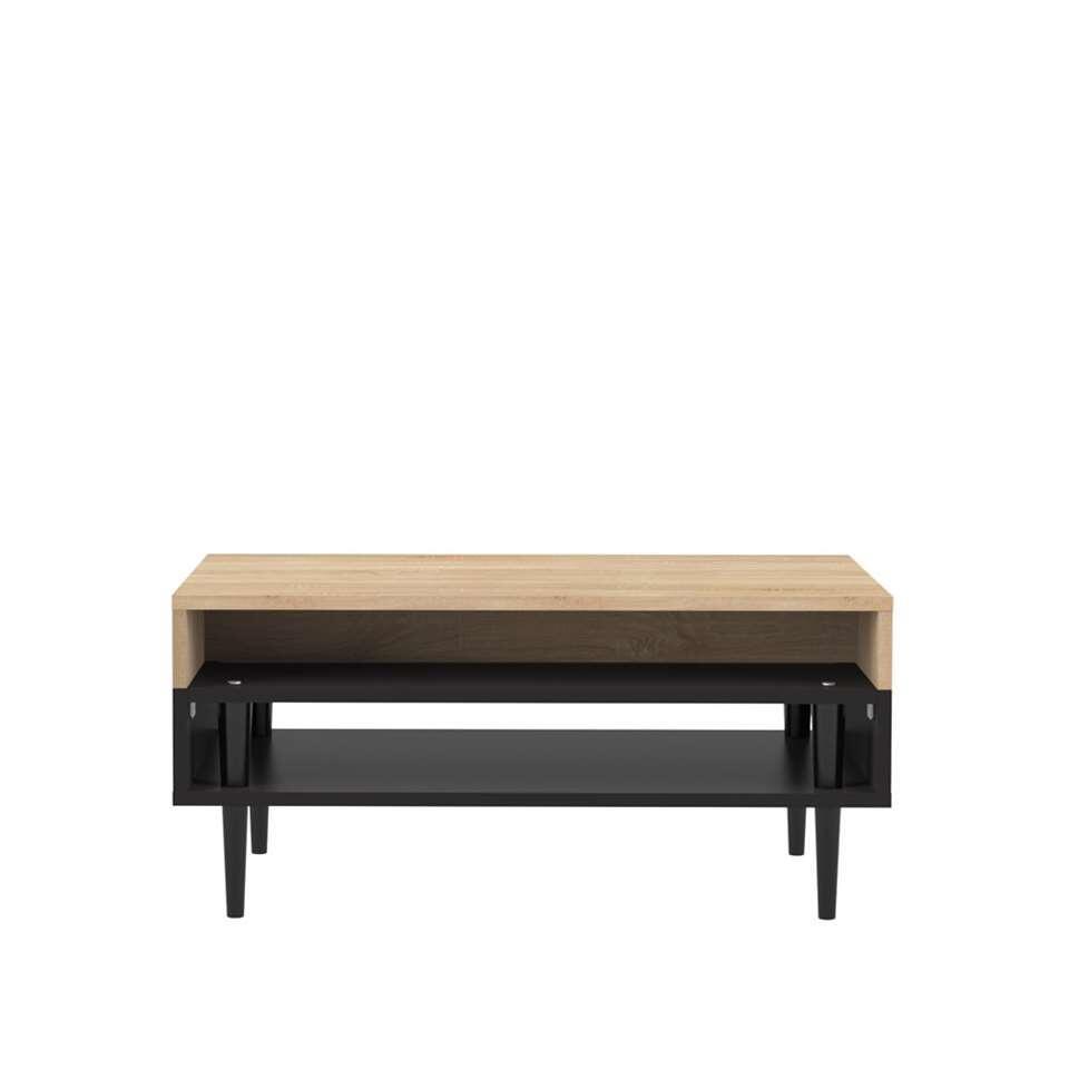 Symbiosis table de salon Esby - couleur chêne/noire - 37x80x53 cm