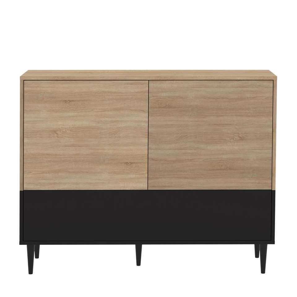 Symbiosis dressoir Esby - eikenkleur/zwart - 95,3x120x40 cm