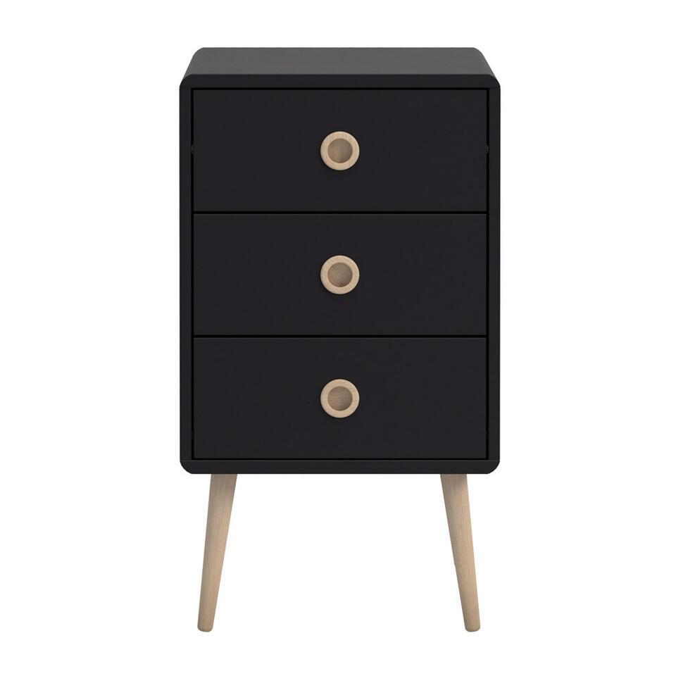 Commode Soft Line 3 tiroirs - noire - 73,2x41,4x39,6 cm
