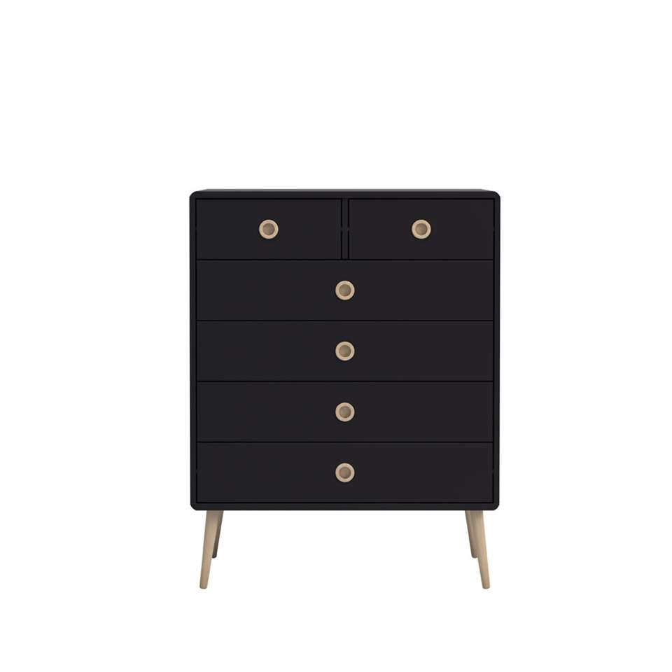Ladekast Soft Line 6 lades - zwart - 105,2x81,3x39,6 cm